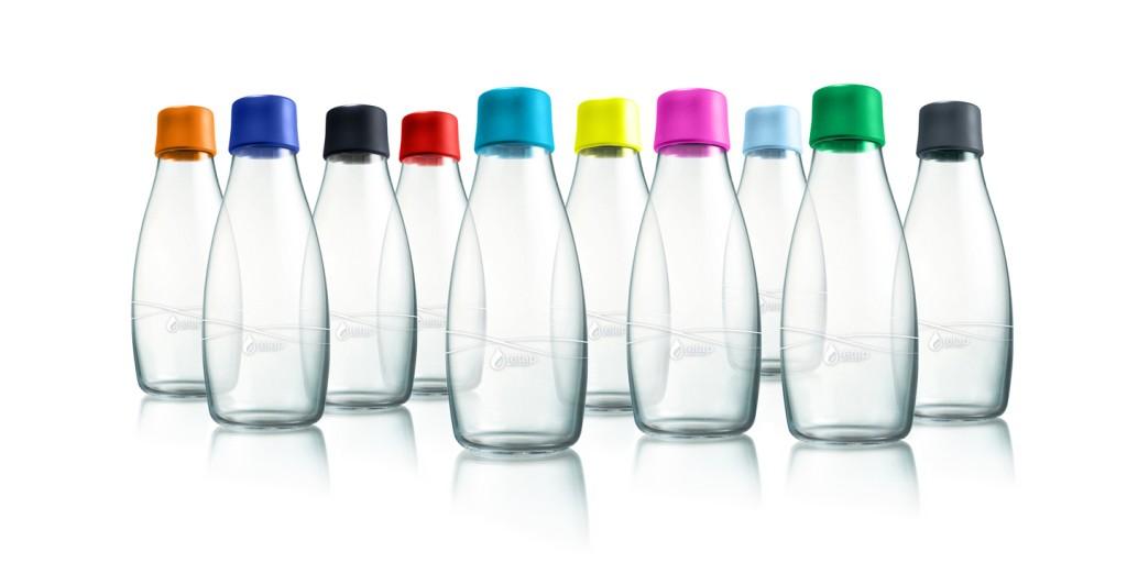 Retap Water Bottle - produs reutilizabil din sticlă borosilicată termorezistentă și antișoc, capac BPA free