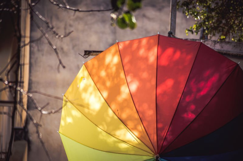 red and yellow umbrellas